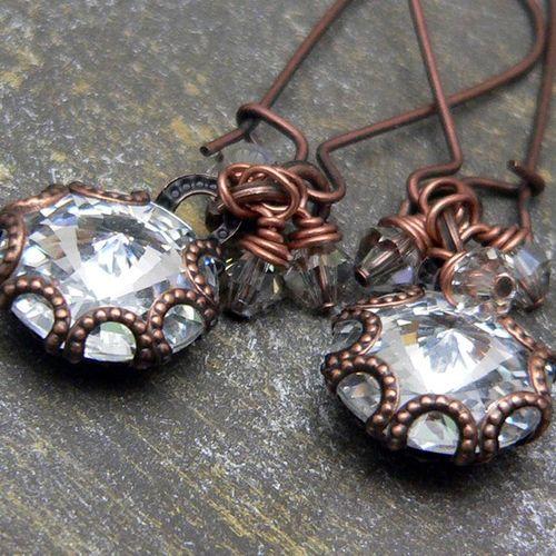 crystal rivoli earrings