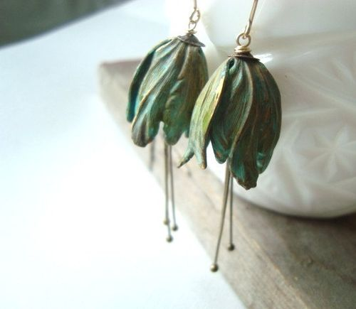 patinaed brass earrings